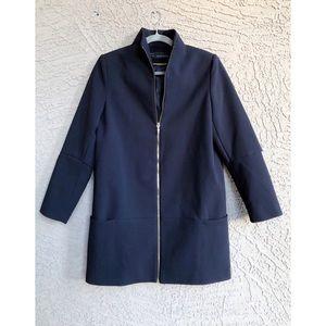 ZARA Basic Navy & Gold Zip Cape Jacket Coat